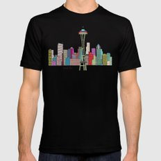 Seattle city  Mens Fitted Tee Black MEDIUM