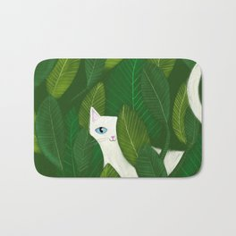 Jungle Cat white cat in leaves artwork by Tascha Bath Mat