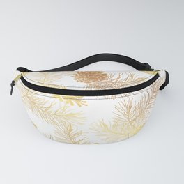 Golden floral pattern with pine cones and branches. Fanny Pack