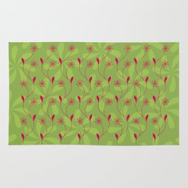 Flowerline – green Rug