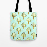 gold foil Tote Bags featuring Mint Gold Foil 02 by Aloke Design