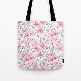 Vintage pink coral pastel green elegant chic floral Tote Bag