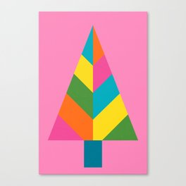 Retro Christmas Tree in Pink Canvas Print