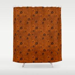 Burnt Orange Grunge Flowers and Hearts Pattern Gift Ideas Shower Curtain