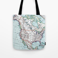 Colorful Vintage North America Map Tote Bag