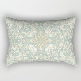 Soft Sage & Cream hand drawn floral pattern Rectangular Pillow