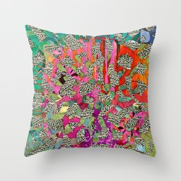 Hot Pink & Red Abstract Art Collage Throw Pillow