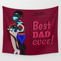dad Wall Tapestries featuring Best Dad Ever by flydesign