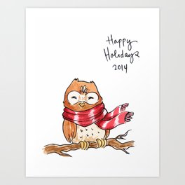 Holiday Card - Happy Hoot Art Print