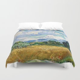 Wheat Field with Cypresses by Vincent van Gogh Duvet Cover