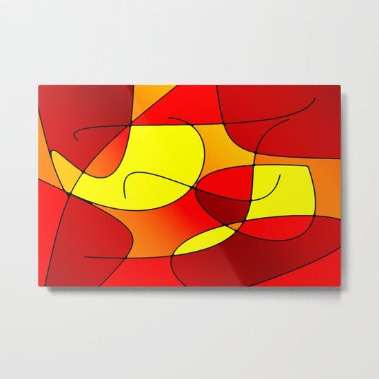 ABSTRACT CURVES #1 (Reds, Oranges & Yellows) Metal Print