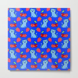 Cute funny sweet adorable little baby tigers, little cherries and red ripe summer strawberries cartoon fantasy midnight blue pattern design Metal Print