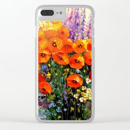 Bouquet of red poppies Clear iPhone Case
