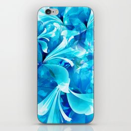 Stylized flowers in blue iPhone Skin