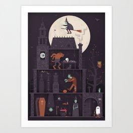 Haunted House at Halloween  Art Print
