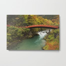 Shinkyo Bridge in Nikko, Japan in autumn Metal Print