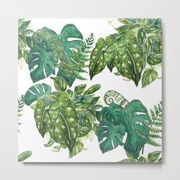 A Pattern of Boho Plants Metal Print