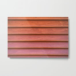 Red colored wooden texture of old shutter Metal Print