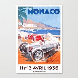 1936 Monaco Grand Prix Race Poster  Canvas Print