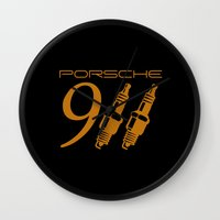 porsche Wall Clocks featuring Porsche 911 by Barbo's Art