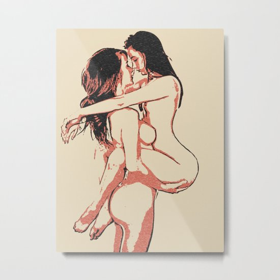 Girls love to play naughty - sexy conte 2, erotic nude lesbian girls, dirty bedroom games, gay art Metal Print