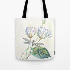 lotus and dragonfly Tote Bag