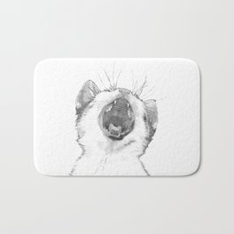 Black and White Sleepy Kitten Bath Mat