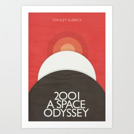 2001 A Space Odyssey - Stanley Kubrick minimalist movie poster, Red Version, fantasy film Art Print