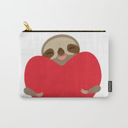 Valentines day card. Funny sloth with a red heart Carry-All Pouch
