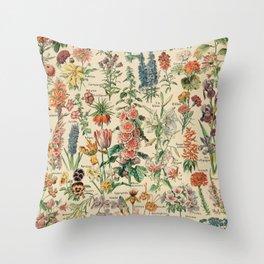 Adolphe millot 1800s fleur E Throw Pillow
