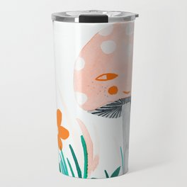 pink mushroom with floral elements Travel Mug