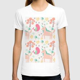 Cute cartoon unicorns & birds pattern T-shirt