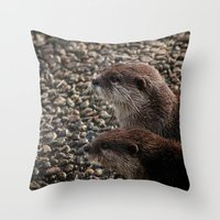 otters Throw Pillows featuring Pair of Otters by Eleven Collective