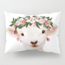 Baby Lamb With Flower Crown, Baby Animals Art Print By Synplus Pillow Sham