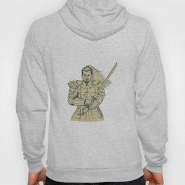 Samurai Warrior Swordfight Stance Drawing Hoody