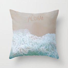 Aloha! Amazing Birds Eye View of Sea Throw Pillow