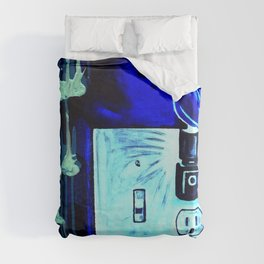 BLUE CANARY IN THE OUTLET BY THE LIGHTSWITCH Duvet Cover