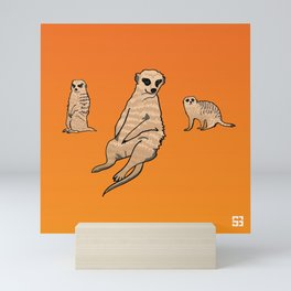 Alphabetic Animals Orange Meerkat Mini Art Print