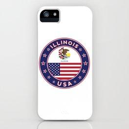 Illinois, Illinois t-shirt, Illinois sticker, circle, Illinois flag, white bg iPhone Case