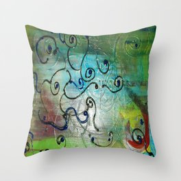 Metallic Peacock Brie Throw Pillow