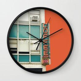New York Coffee Shop on Orange Wall Clock