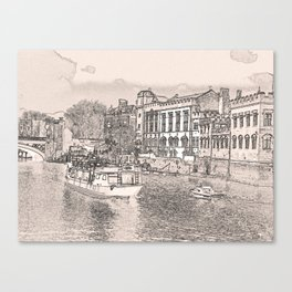 York in pencil and tint Canvas Print