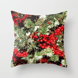 Frosted Christmas Tree with Holly Throw Pillow