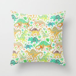 Happy Dinos - citrus colors Throw Pillow
