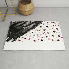 Pink, Black, & Faux Gold Paint Dots & Brushstrokes Rug