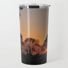 Winter Sunset Through Trees Travel Mug