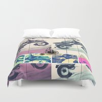 motorbike Duvet Covers featuring Painting, Illustration, Graphic Design, collage, motorbike by WhitePanther