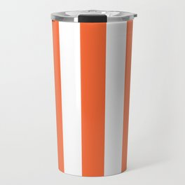 Smashed Pumpkin orange - solid color - white vertical lines pattern Travel Mug