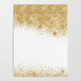 Sparkling golden glitter confetti effect Poster