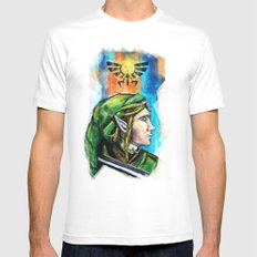 Link from the Legend of Zelda Painting. The Proud Hyrulian Warrior. White MEDIUM Mens Fitted Tee